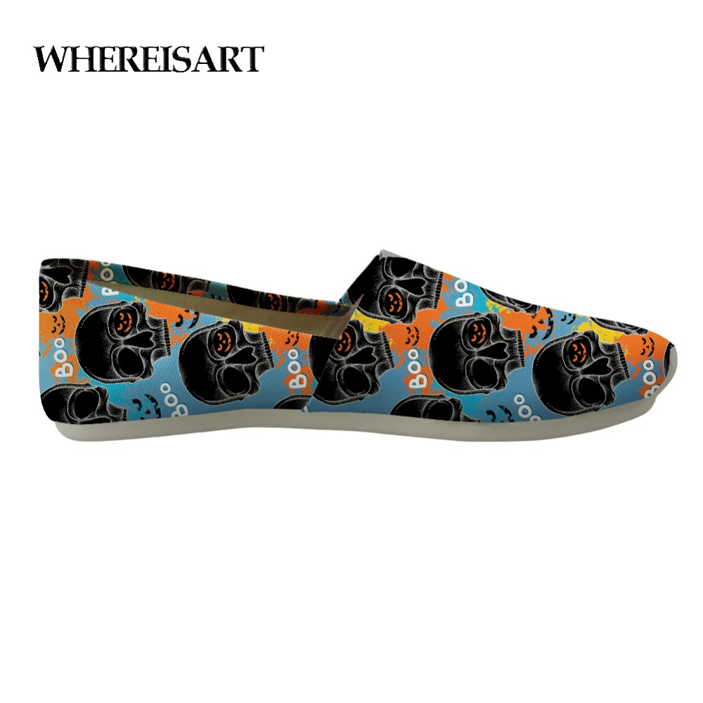 WHEREISART High Quality Mens Shoes Casual Cool Skull Custom Shoes Men Loafers Lazy Men's Slip On Shoes Canvas Sneakers Studnets