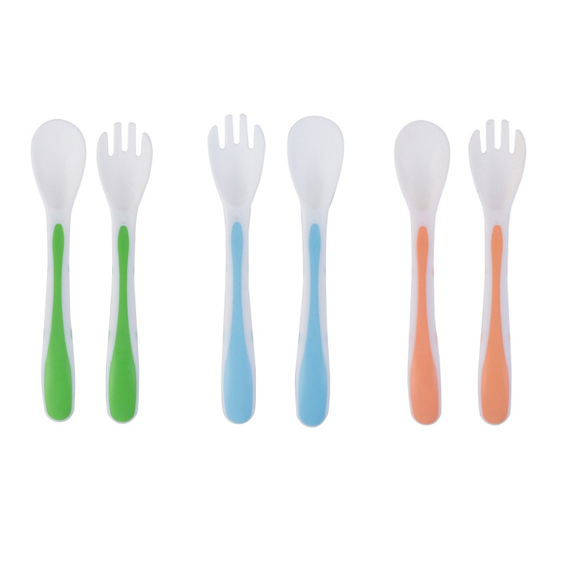 Child Feeding Spoon Set Food Supplement Training Spoon+fork Three Color PP Leather For Up 6M