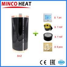 5 Quadratmetern 220V Zimmer Temperatur Controller Carbon Infrarot Heizung Film Freies Verschiffen Fußboden Heizung Film