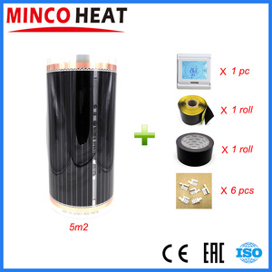 Image 1 - 5 metros quadrados 220 v controlador de temperatura ambiente filme aquecimento infravermelho carbono frete grátis piso aquecimento filme