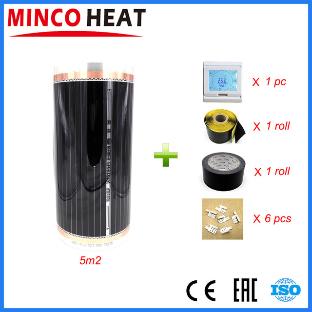 5 metros quadrados 220 v controlador de temperatura ambiente filme aquecimento infravermelho carbono frete grátis piso aquecimento filme