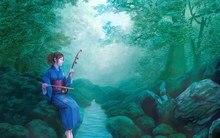 Wohnzimmer schlafzimmer hause wanddekoration stoff poster kunst kimono mädchen sitzt violine stream schmetterling natur