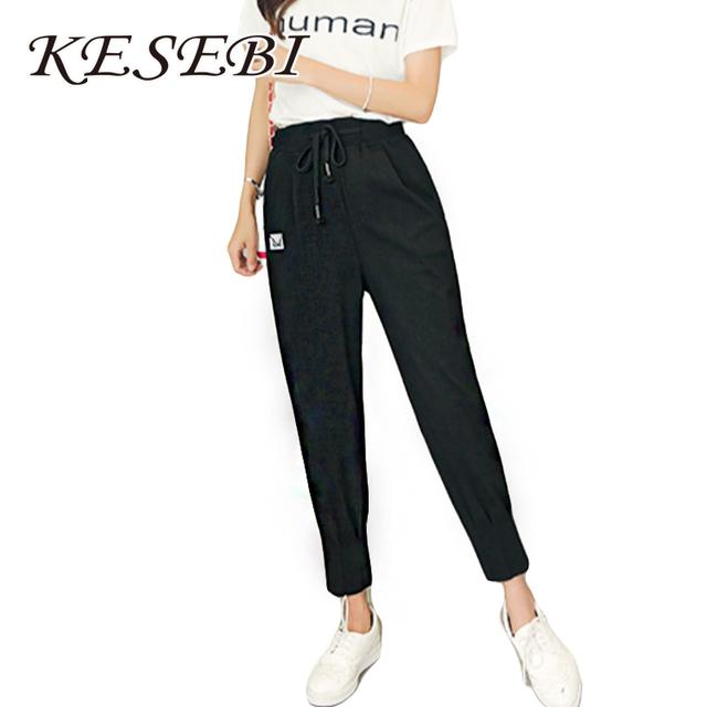 Kesebi J2FE220 #8219 Mulheres De Cintura Alta Elástico Na Cintura Casual Clássico Com Cordão Calças Harém de Moda Feminina Tornozelo-comprimento das Calças