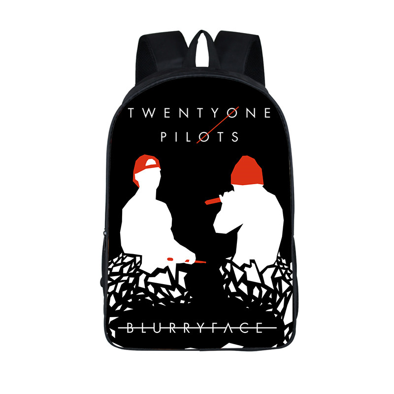 New Students Twenty One Pilots Backpack For Girls Boys Teens School Bags Book Bag 16 Inch Black Women Men Hip Hop Laptop Bags black one велосипед black one flash черно красный 16
