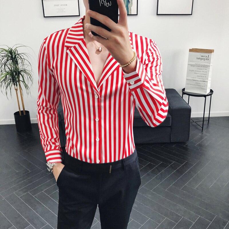 Terno Camisa Gola V Profundo Sexy Stripe Shirt Slim Fit Turn Down Colarinho da Camisa Dos Homens Camisa de Vestido Ocasional Homens Chemise longue Homme