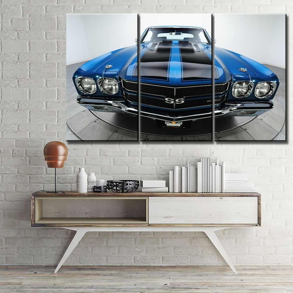 Современные настенные художественные изображения для украшения дома 5 панель Chevelle SS синий черный мышечный автомобиль живопись Декор рамки холст тип печати
