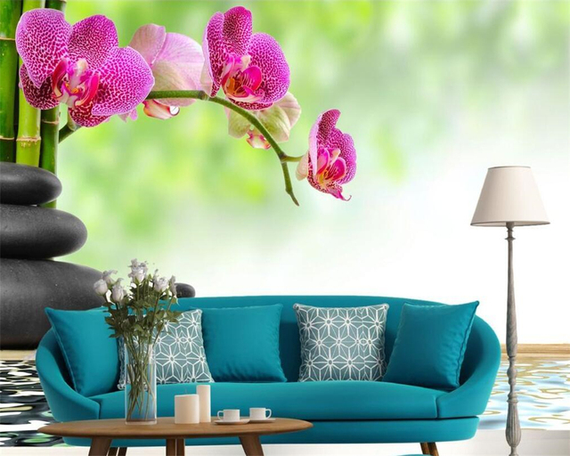 Beibehang Fashion 3d Big Mural Wallpaper Hd Balcony Window: Beibehang Custom Wallpaper Stone And Orchid On Bamboo, 3D