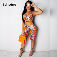 New Summer Snake Skin Leopard Print Two Piece Set Crop Top and Shorts Sexy Skinny Sleeveless 2 Piece Set Bodycon Club Outfit letter and heart print sleeveless top and shorts pj set