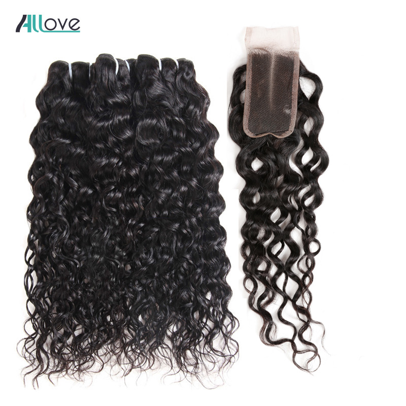 Malaysian Water Wave Hair With Closure Allove Human Hair Bundles With Closure Natural Hair Extensions With