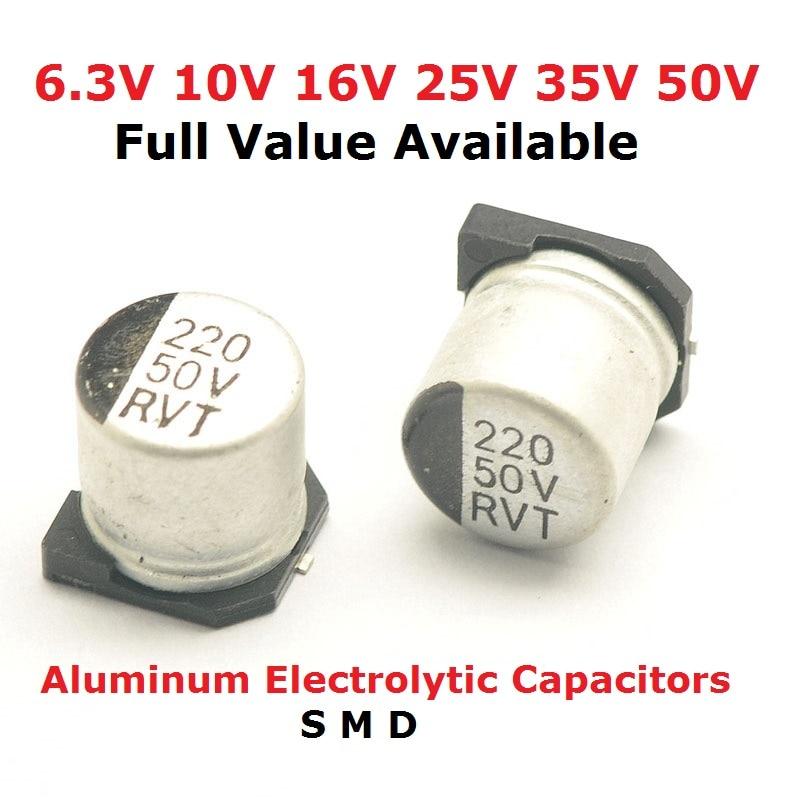 10pcs SMD Aluminium Electrolytic Capacitor 10V 47uF 4x5mm