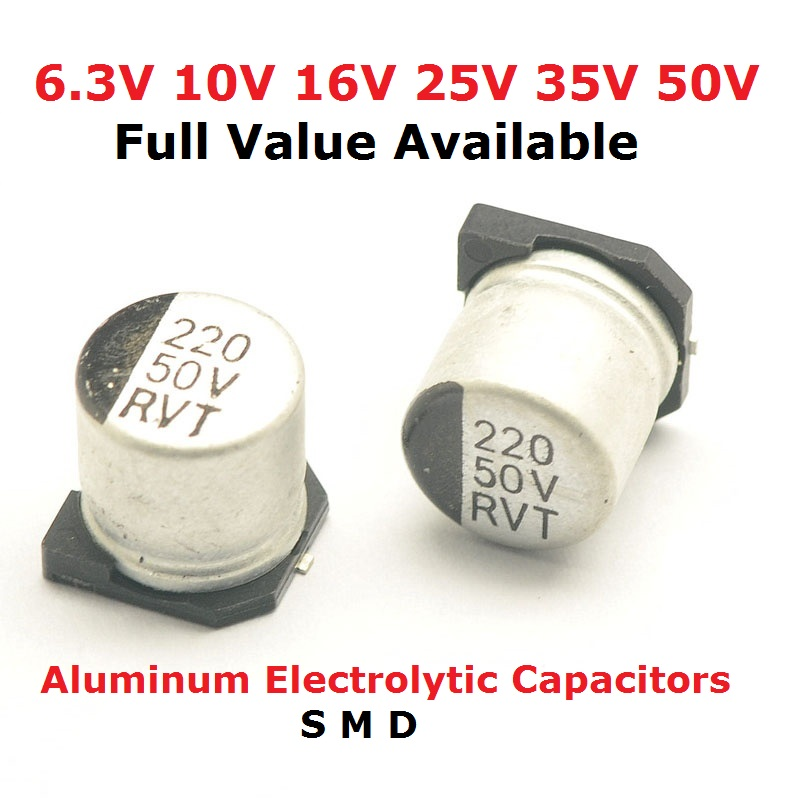 10pcs 10V 47UF 16V 100UF 25V 22UF 35V 470UF 50V 220UF 1000UF 10UF 330UF 2200UF 150UF Aluminum electrolytic capacitors SMD image