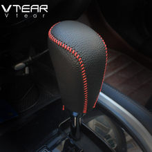 Vtear For Nissan Kicks accessoris Gear Shift Collars Handbrake Grips Interior car-Styling hand brake cover Hand-stitched 17-19(China)