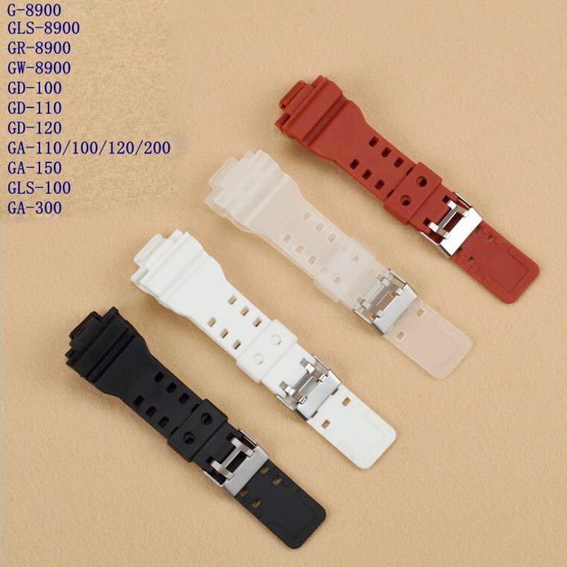 neway 16mm Rubber Watchbands Men Black Sport Diving Silicone Watch Strap Band Metal Buckle For Casio g-shock Watch Accessories 20mm watch band strap watchbands for men s women sport diving silicone rubber black blue silver buckle relojes hombre