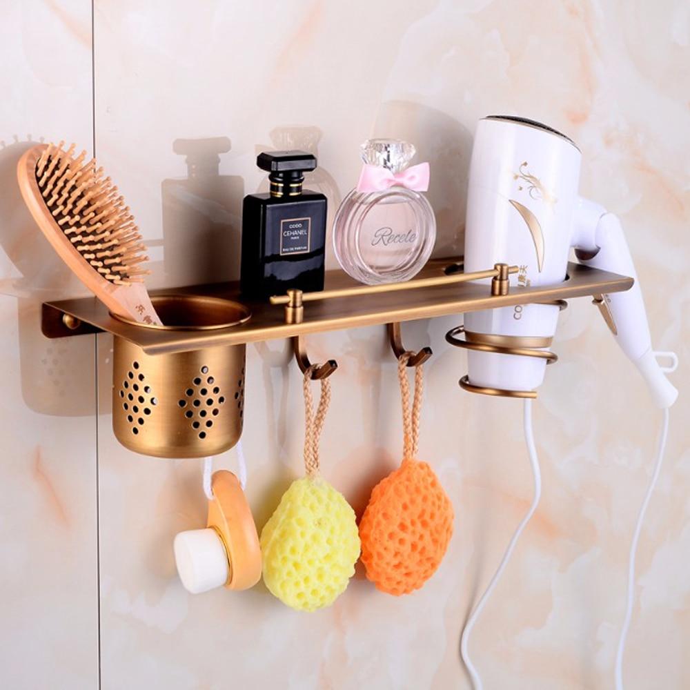 Multi-function Bathroom Hair Dryer Holder Wall Mounted Rack Antique Copper Shelf Storage Organizer Hairdryer Holder TL065Multi-function Bathroom Hair Dryer Holder Wall Mounted Rack Antique Copper Shelf Storage Organizer Hairdryer Holder TL065