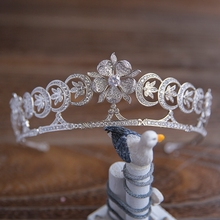 New Arrival European Brides Cubic Zirconia Flower Tiara Headpieces Evening Crystal Crown Hair Accessories