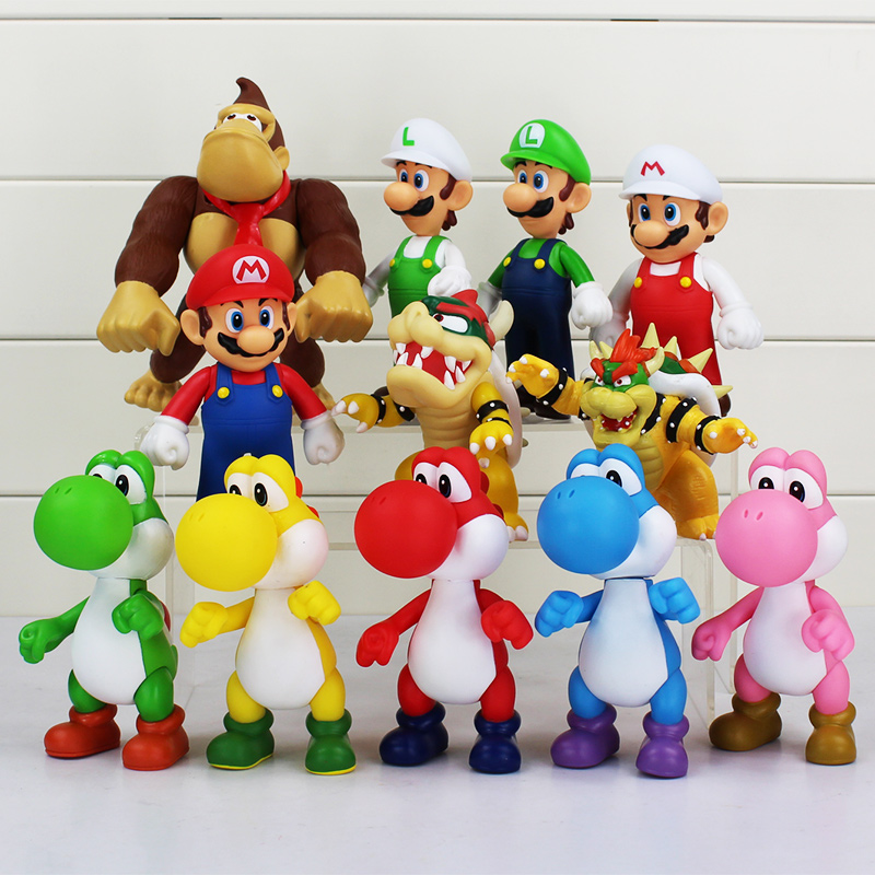 8~15cm Super Mario Bros Bowser Koopa Yoshi Mario Luigi Donkey Kong PVC Figure Toys Model Dolls ems shipping 12 sets cute super mario game mario luigi brothers set pvc action figure collection model dolls toy 3pcs per set