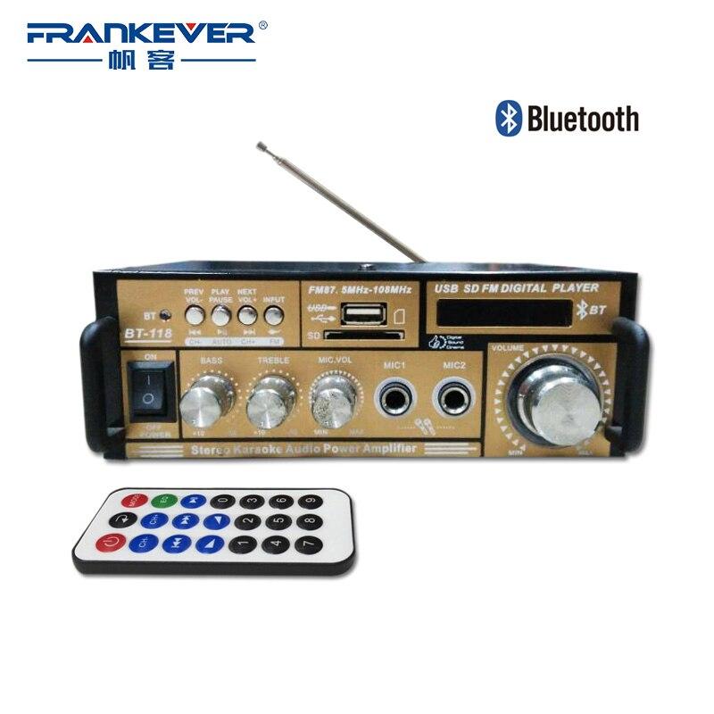 Frankever Hi Fi Bluetooth Digital Audio Car 2.1 Channel Home Audio Sound Amplifier AC220V-240V Volume Control Subwoofer BT-118