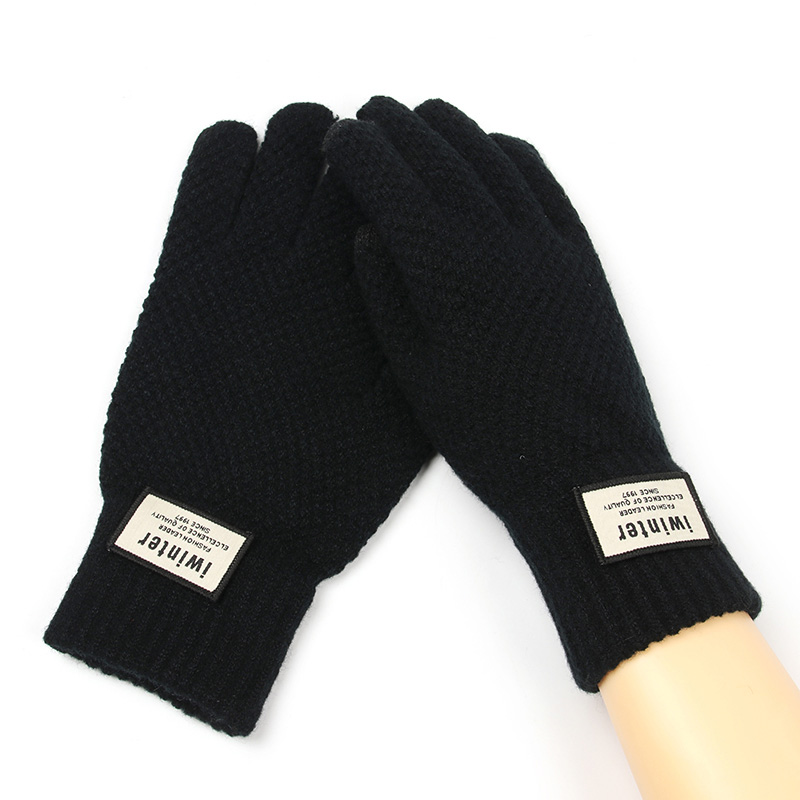 Cashmere Knitted Gloves Men Thick Warm TouchScreen Gloves