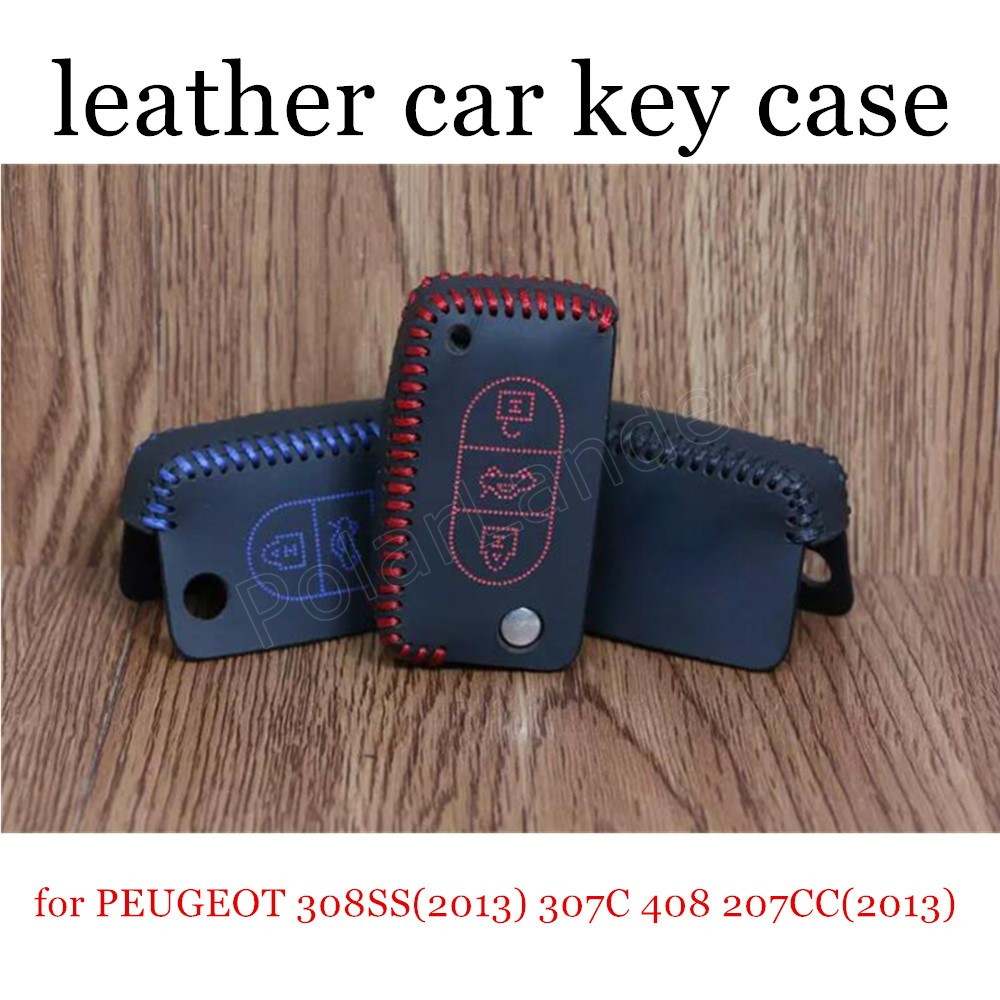 Only Red great sale car key case leather hand sewing car key cover fit for PEUGEOT 308SS(2013) 307C 408 207CC(2013) RCZ(2014)