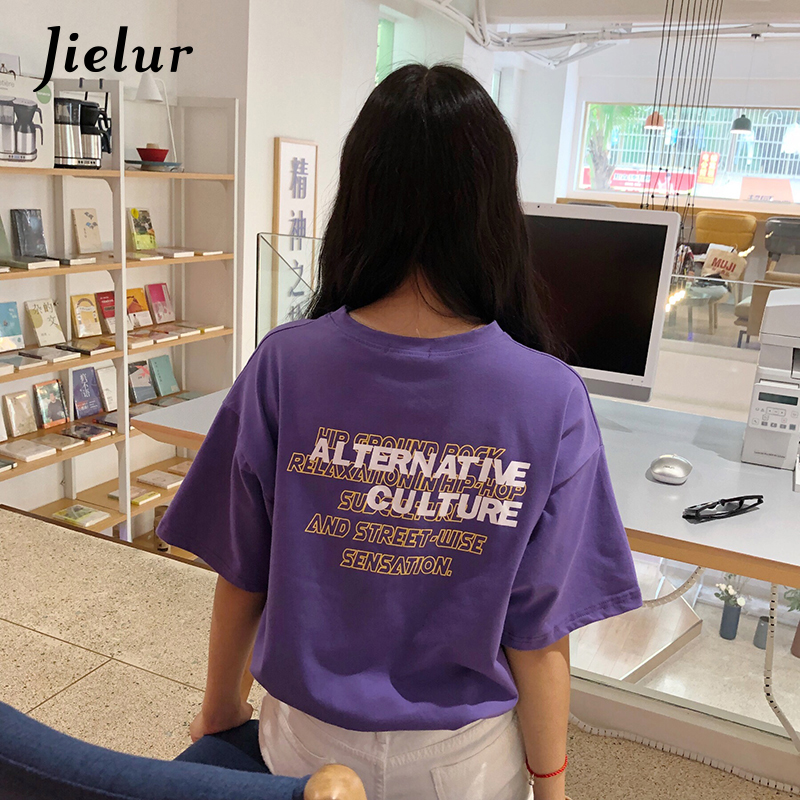 Jielur Letter Printed Streetwear Purple T Shirt for Womem 2018 New Korean Fashion M-XXL Loose Female Tshirt Cool Girl Haut Femme