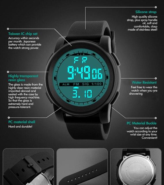 New Men Sports Watches Waterproof Outdoor Fun Multifunction Digital Watch Swimming Running LED Wristwatch Montre Homme 2