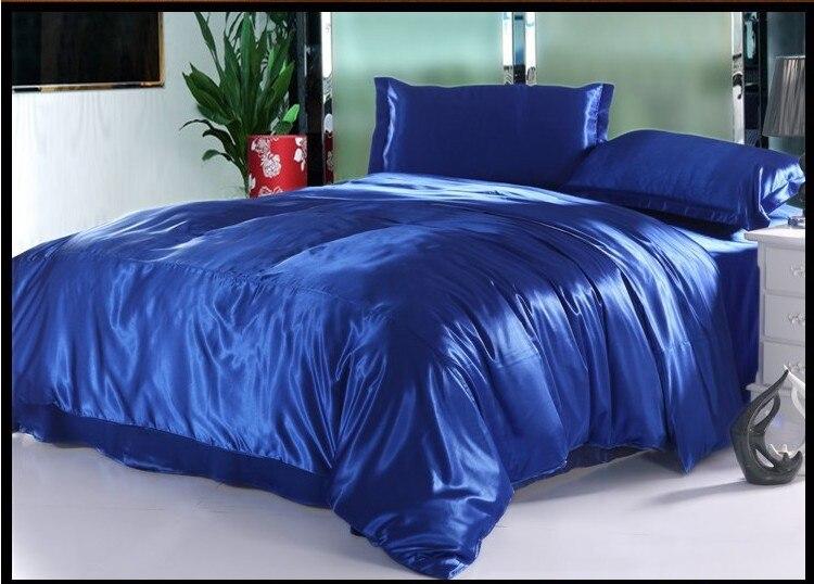 bleu royal soie naturelle ensemble de literie de luxe cal king size reine complet housse de couette double couette equipee lit dans un sac housse de couette