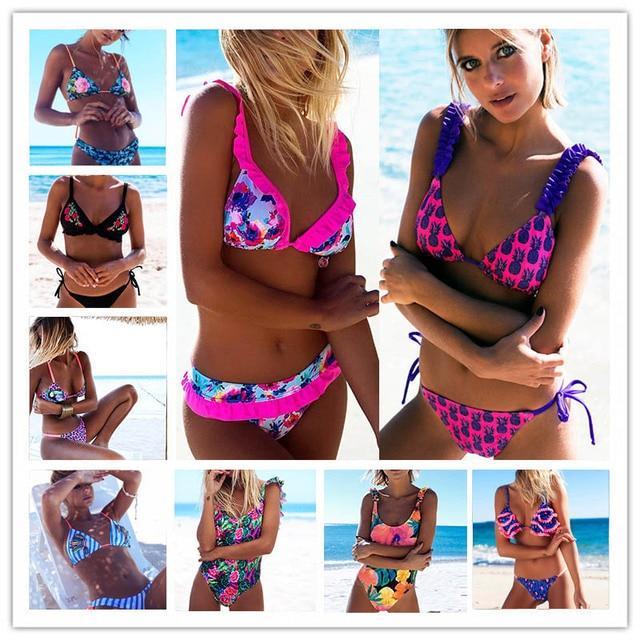 Bandage Halter Beach Wear Push Up Bathing suits Print Swimwear Female Brazilian Bikini Set S-XL