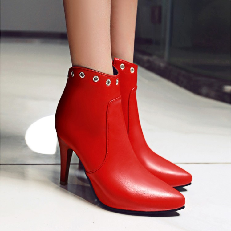 Big  Size  11 12 13     Fashionable British Wind Tip Fine-heeled High-heeled Wide-lap Side Zipper Metal Decorative BootsBig  Size  11 12 13     Fashionable British Wind Tip Fine-heeled High-heeled Wide-lap Side Zipper Metal Decorative Boots
