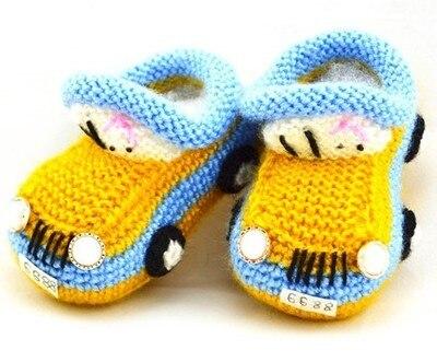 Новорожденный мультфильм автомобиля впервые ходунки детская обувь младенец вязания крючком вязать малышей мальчик шерсть детская кровать в обуви зима мягкая multi-подошве пинетки