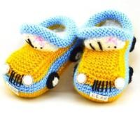 Recién nacido coche de la historieta primeros caminantes zapatos de bebé infantil del ganchillo del Knit de lana niño niño lana zapatos del pesebre del invierno de suela blanda botines