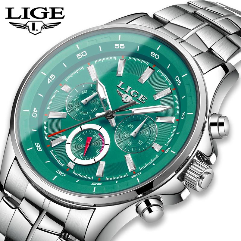LIGE Sport Men Watch Men Quartz Wristwatch Waterproof Shockproof Steel Band Black Army Male Clock Relogio Masculino Hodinky+BOX