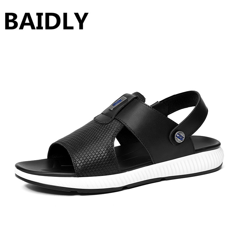 BAIDLY New Summer Genuine Leather Men Sandals Luxury Brand High Quality Real Leather Beach Sandals Fashion