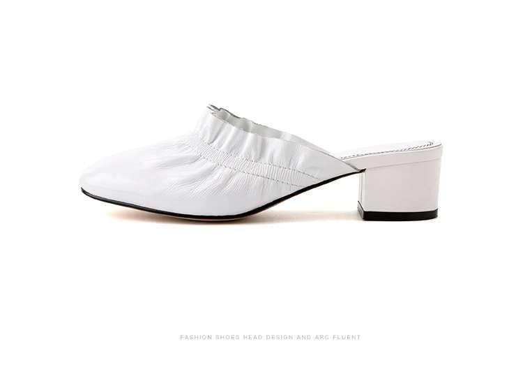 Mujeres Bombas Simples Verano De Zapatos Mujer blanco Negro Perezoso Vaca Venta En Mulas Caliente Chaussure Las Primavera Cuero ZFqRxS