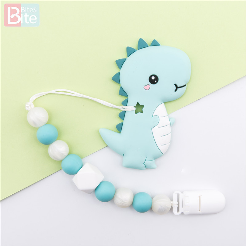 Bite Bites 1PC Baby Silicone Beads Food Grade Dinosaur Teether Pearl Silicone For Diy Toy Nursing Pacifier Clip Children Product