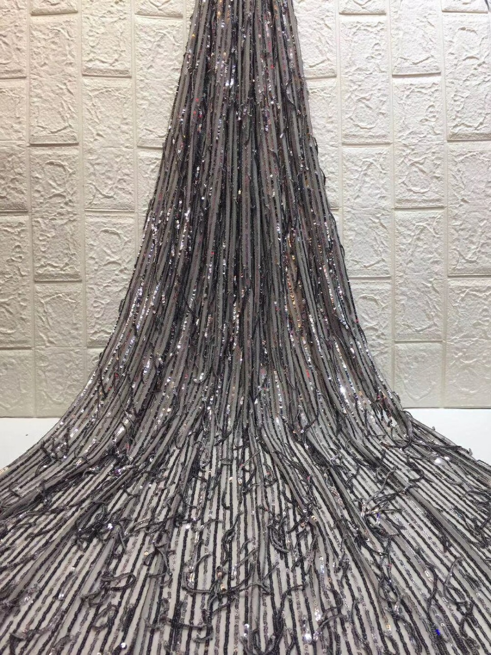 Laatste Afrikaanse Veters 3D Bloem Borduurwerk Kant Stof Hoge Kwaliteit Afrikaanse Bridal Kant Stof Met Pailletten 5 Yards ZXN111-in Kant van Huis & Tuin op  Groep 1