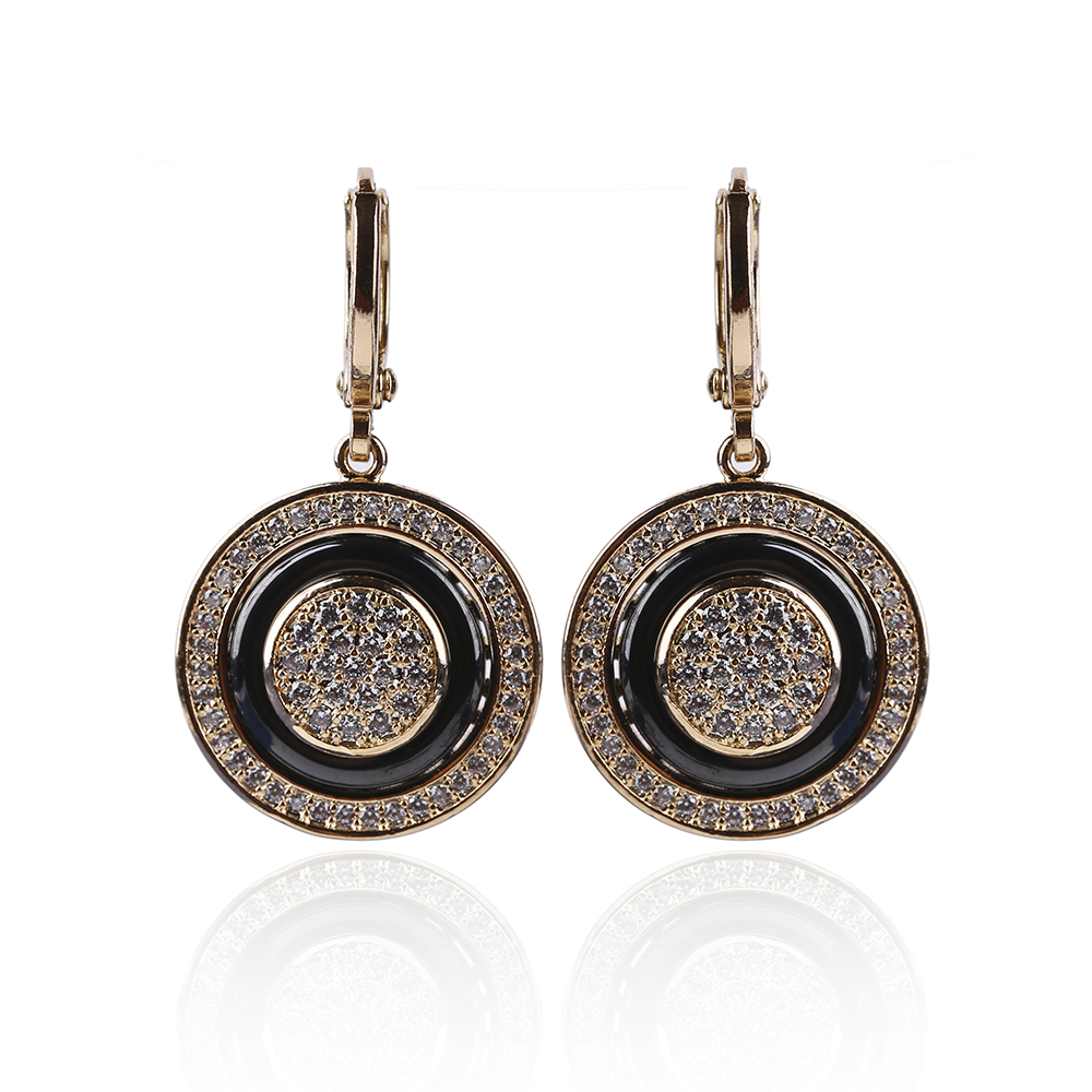 Lange Schlenker Ohrringe für frauen Runde Micro Wachs Inlay Natürliche Zirkon Keramik 585 Rose Gold Frauen Hochzeit Edlen Schmuck