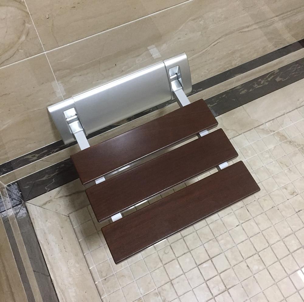 откидное настенное сиденье - DIYHD 12 Luxury Bathroom Solid Wood Folding Shower Seat Brushed Wall Mount Wide Base Shower Bench