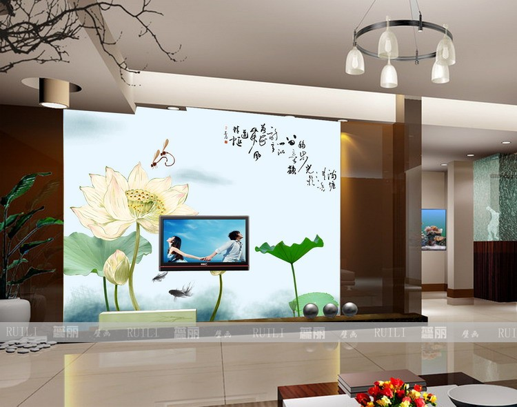 Custom living room bedroom TV wall mural wallpaper 3d three-dimensional non-woven Lotus minimalist retro style Chinese magnolia 3d room wallpaper custom mural non woven sticker mural old man tv sofa bedroom ktv hotel living room children room