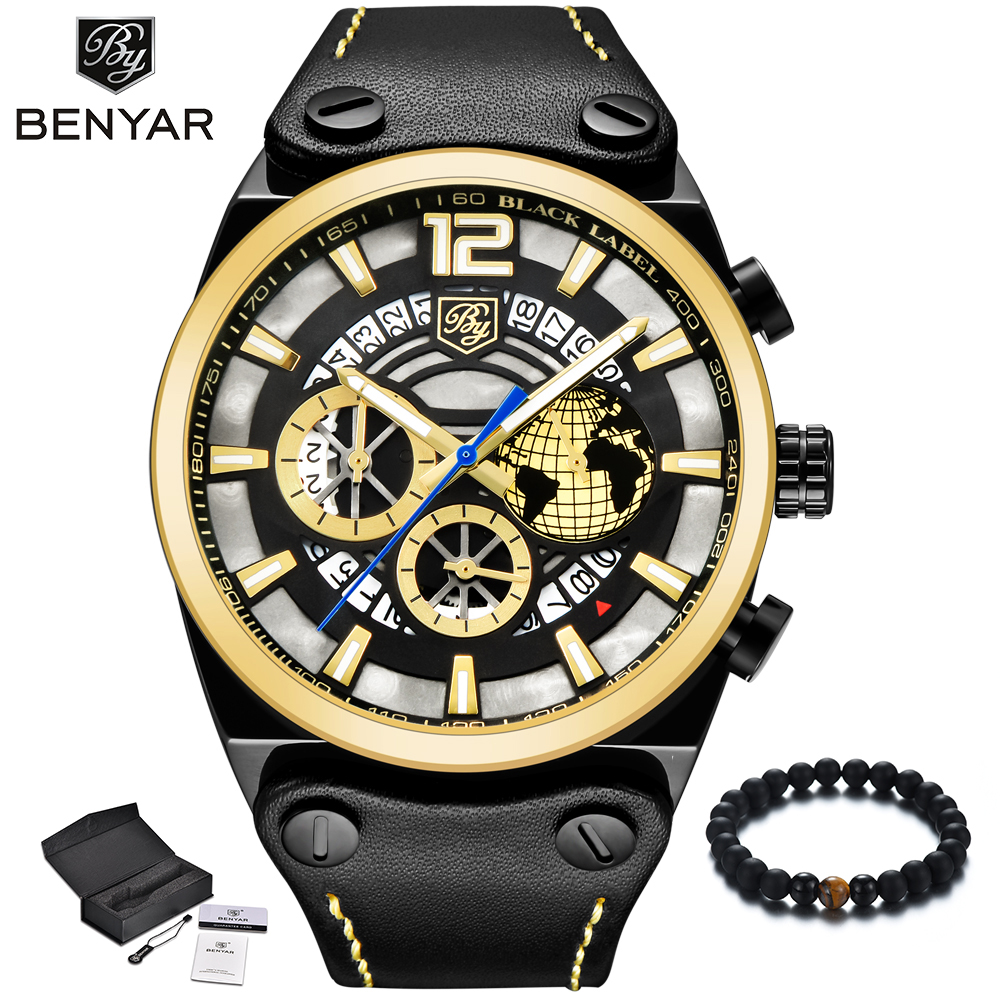 BENYAR Fashion Big Dial Skeleton Gold Watches Men 2018 Luxury Brand Quartz Military Army Watch Sport Leather Wristwatch Mens New gift hot crazy selling army leather belt table trend of retro fashion blue big dial quartz watch clock men military sport watch