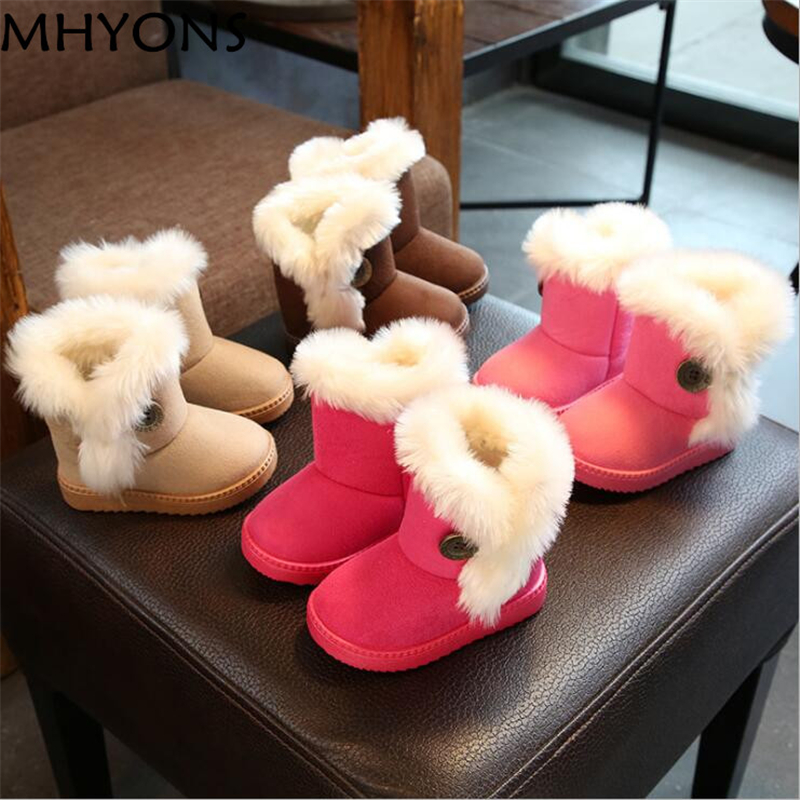 Warm Kids Snow Boots For Children 2019 New Toddler Winter Princess Child Shoes Non-slip Flat Round Toe Girls Baby Lovely Boots