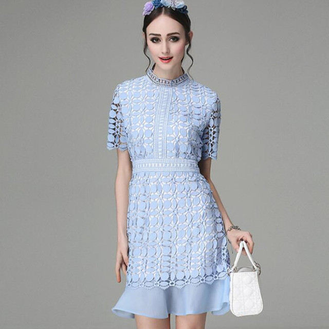 Self Portrait Dress Summer Dress Womens Blue White Mini Lace Dresses