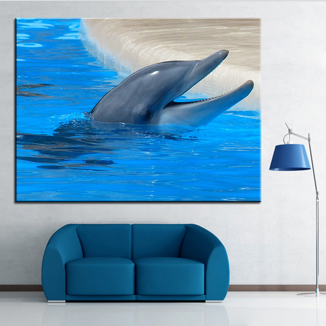 Large size Printing Oil Painting dolphin tooth mouth Wall painting ...