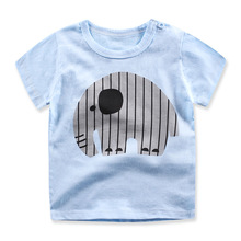 2017 Sport Baby Girls Boys t-shirt Short Sleeve Elephant Pattern t-shirts for boys Cotton Children Clothes