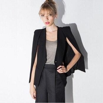 Women cloak cape blazer Black color 2017 Spring and Autumn lapel split long sleeve blazer feminino one button female suit jacket Top