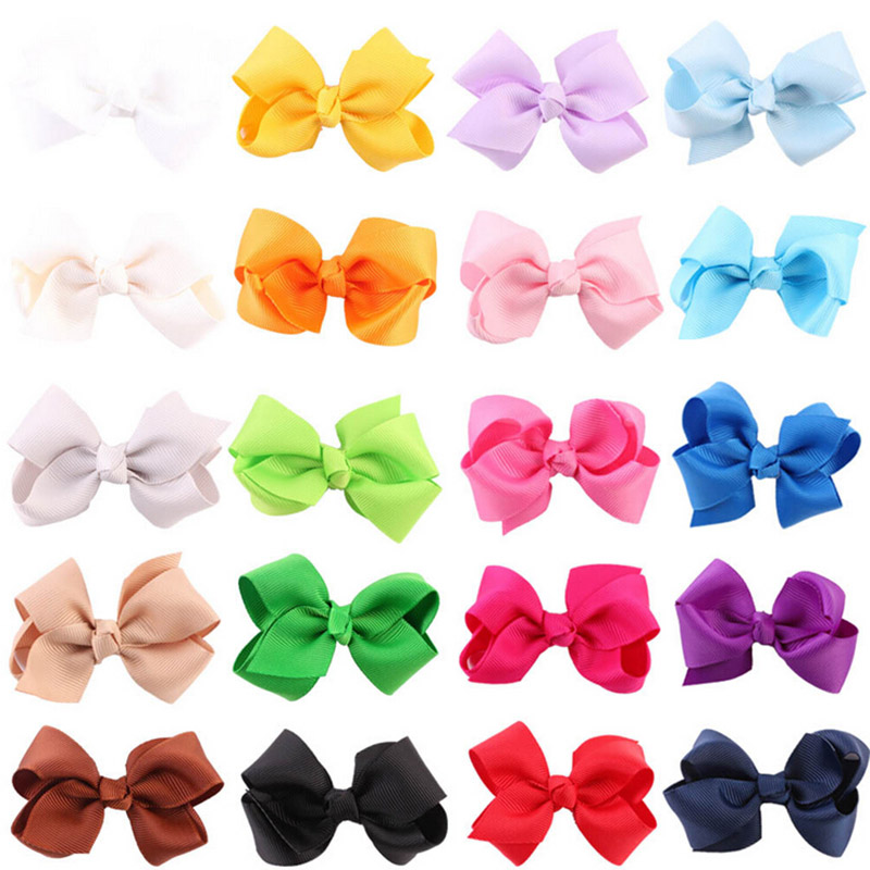 10pcs/lot Fashion Newborn Bows Hair Clip Boutique Hair Pin Flower Grosgrain Ribbon Hair Bow Hairpins Kids   Headwear   Accessories