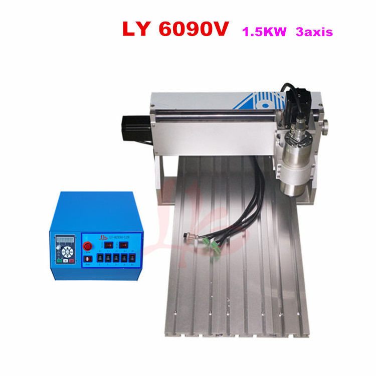 1500w 6090 3 Axis CNC Router USB Port MACH3 1.5kw Spindle CNC Engraving Milling Cutting Machine