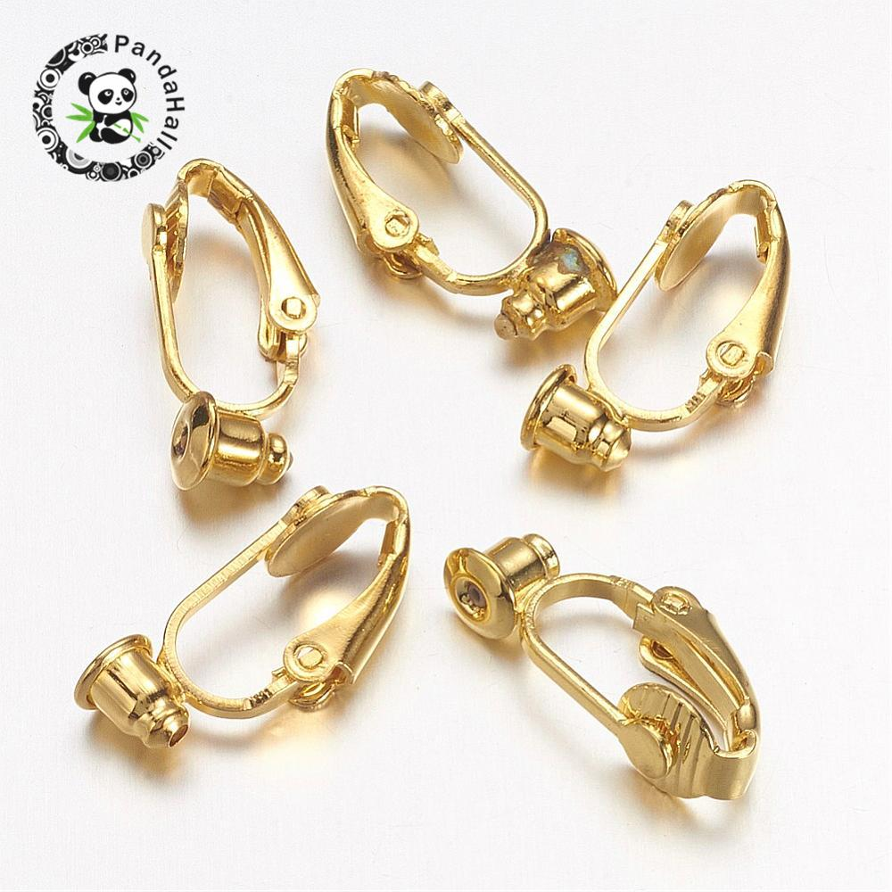 Brass Clip on Earring Converter, Earring Components, Nickel Free, Golden, 19x6x9mm, Hole: 1mm Пирсинг ушей
