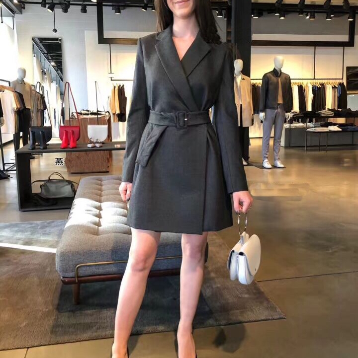 2019 spring new office lady notched collar long sleeve women temperament career   trench   coat dress with belt