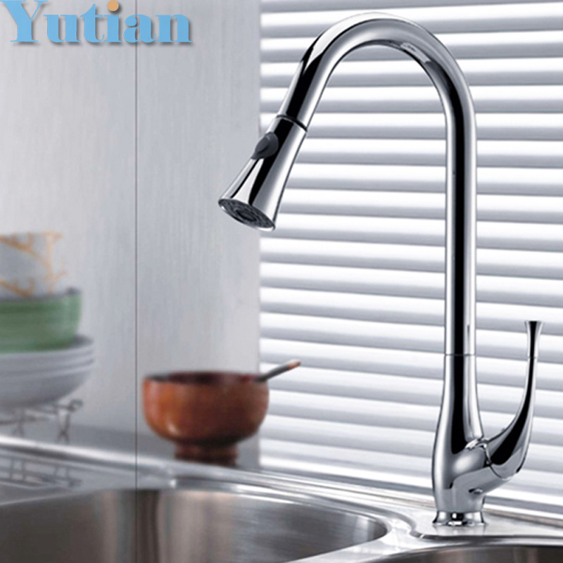 Perfect Chrome Plated Solid Brass Kitchen Faucet Pull Out Spray Deck Mounted Sink Mixer Taps Single Handle Faucet YT-6017