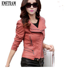 Новая модная женская кожаная куртка,, тонкая, с отложным воротником, кожаная, на молнии, Женская куртка, jaquetas de couro feminino CJJ10